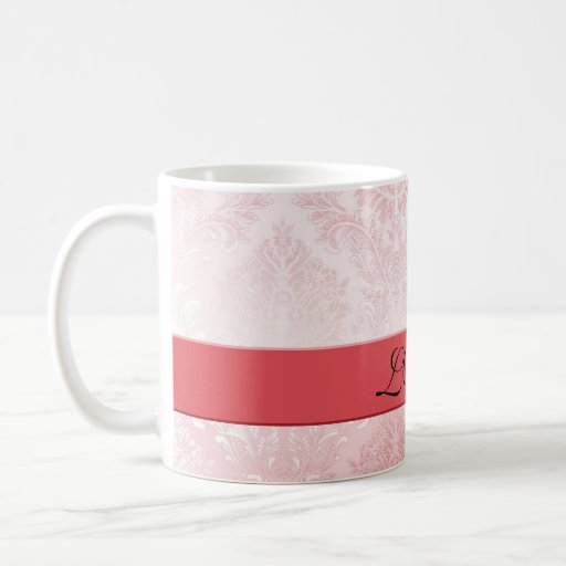 Taza romántica roja de lujo del damasco