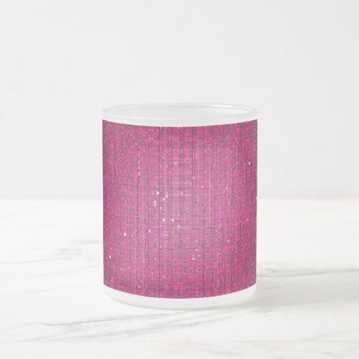 Taza rosada de la taza de café del vidrio