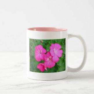 Taza rosada de los geranios