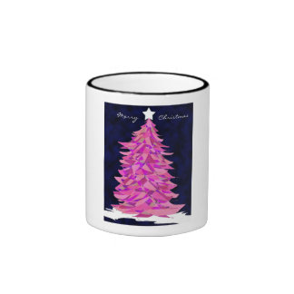 Taza rosada del árbol de navidad del remiendo