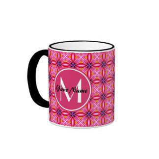 Taza rosada del campanero del monograma