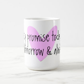 taza rosada del corazón de la promesa