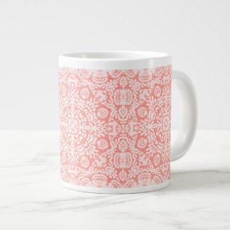 Taza rosada del jumbo del diseño del telar jacquar tazas extra grande