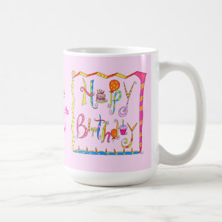 Taza rosada personalizada del feliz cumpleaños