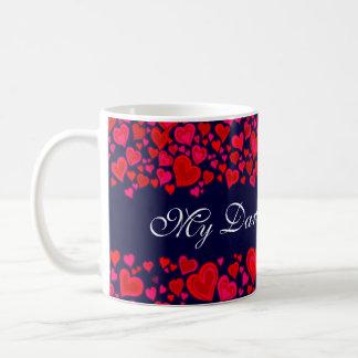 "Taza rosada roja de los corazones de ""mi tarjeta d"