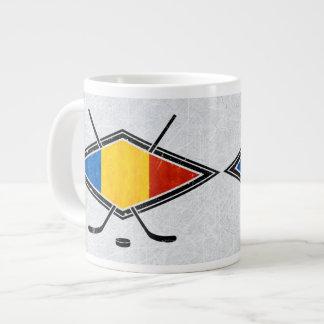 Taza rumana de la bandera del hockey sobre hielo taza grande