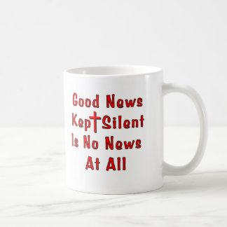 Taza silenciosa guardada de las buenas noticias