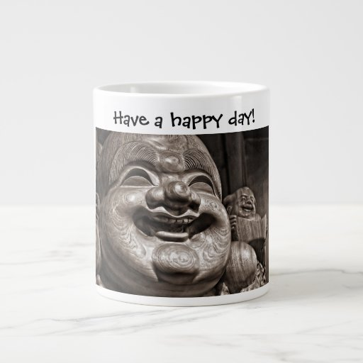 Taza sonriente de la felicidad de Buda Taza Extra Grande