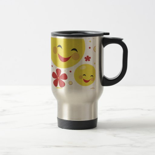 Taza sonriente del viaje de las flores de la cara