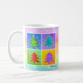 Taza, taza - árboles de navidad del arte pop