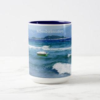 Taza, taza de cafetería, capuccino, vacación, mar,