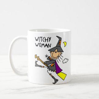Taza/taza de Halloween de la mujer de Witchy Taza Básica Blanca