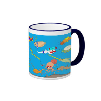 Taza tonta del dibujo animado de los pescados