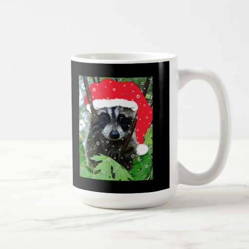 """Taza """"traviesa"""" del mapache del navidad"""