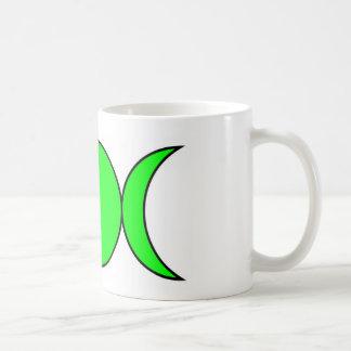 Taza triple verde de la luna de la bruja fresca