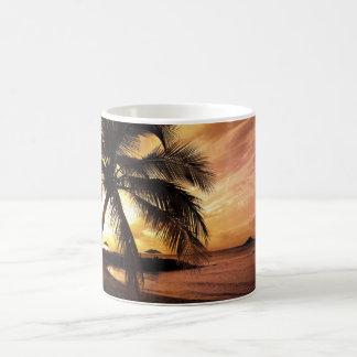 Taza tropical de la puesta del sol del palmtree de