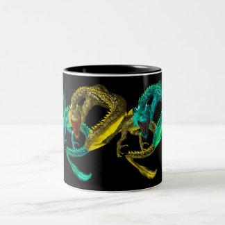 taza twotone de los dragones orientales