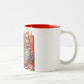taza, vegetarianismo, diablo, ángel, dios taza de dos tonos