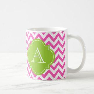 Taza verde blanca rosada del monograma de Chevron