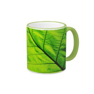 Taza verde de la hoja