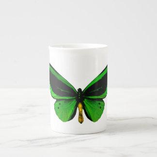 Taza verde de la porcelana de hueso de la mariposa taza de porcelana
