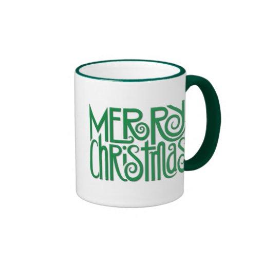 Taza verde de las Felices Navidad