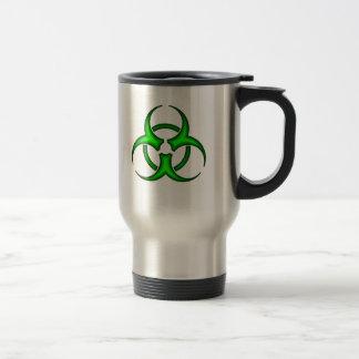 Taza verde de neón del símbolo del Biohazard