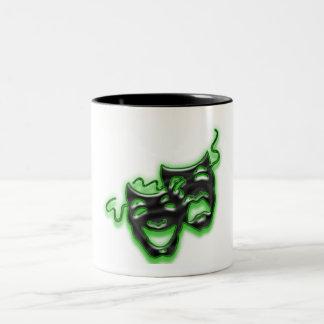 Taza verde de neón grande de las máscaras