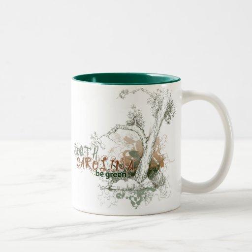 Taza verde del árbol de Carolina del Sur