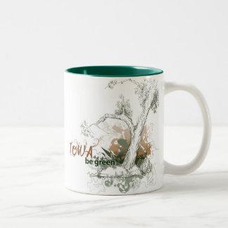 Taza verde del árbol de Iowa