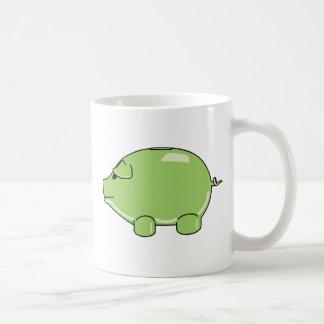 Taza verde del cerdo
