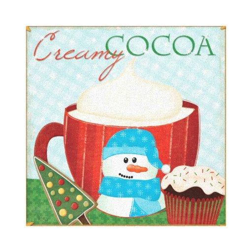 Taza verde del día de fiesta con cacao caliente impresión de lienzo