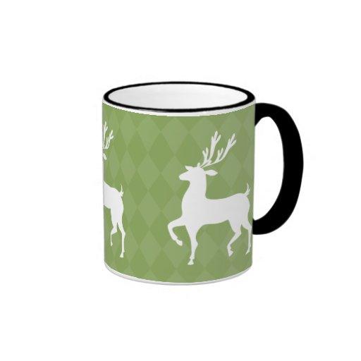 Taza verde del navidad del reno
