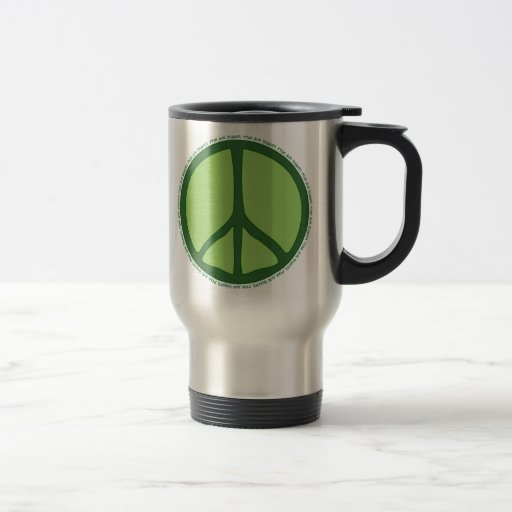 Taza verde del viaje de la paz