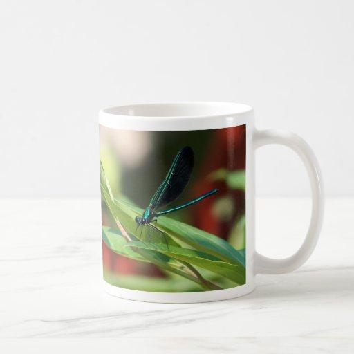 Taza verde y negra de la libélula