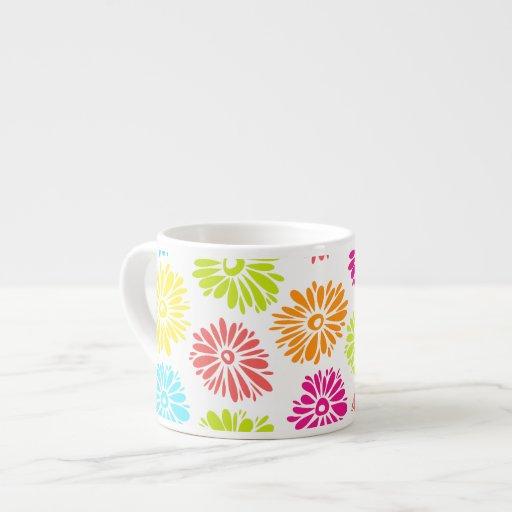 Taza vibrante del jumbo del Espresso/de las flores Tazita Espresso