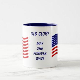 Taza vieja de la bandera de la gloria