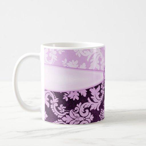 Taza violeta elegante de la cinta del damasco