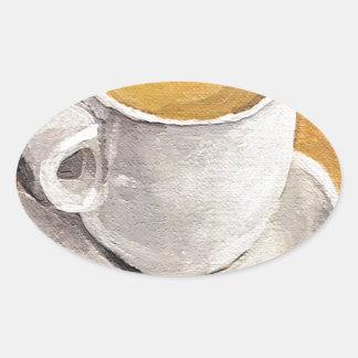 Taza y platillo del café express pegatina ovalada