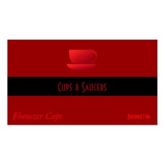 Taza y platillo rojos tarjetas de visita