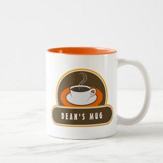 Tazas anaranjadas blancas del café de la taza de