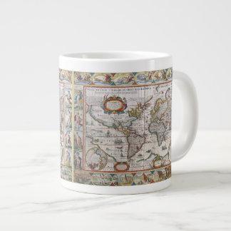 Tazas antiguas del mapa del mundo taza grande