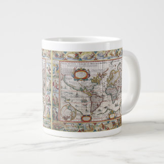 Tazas antiguas del mapa del mundo taza extra grande