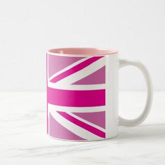 Tazas británicas rosadas del Dos-Tono de la bander
