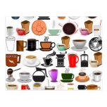 Tazas de café (añada el color de fondo) postal