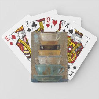 Tazas de café antiguas cartas de póquer