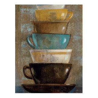 Tazas de café apiladas postal