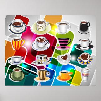 Tazas de café coloridas - diversos tamaños disponi poster
