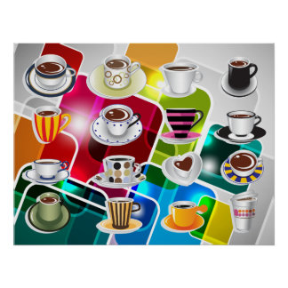 Tazas de café coloridas - diversos tamaños póster
