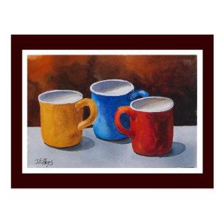 Tazas de café coloridas postal